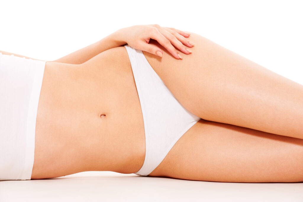 Woman's body in white underwear